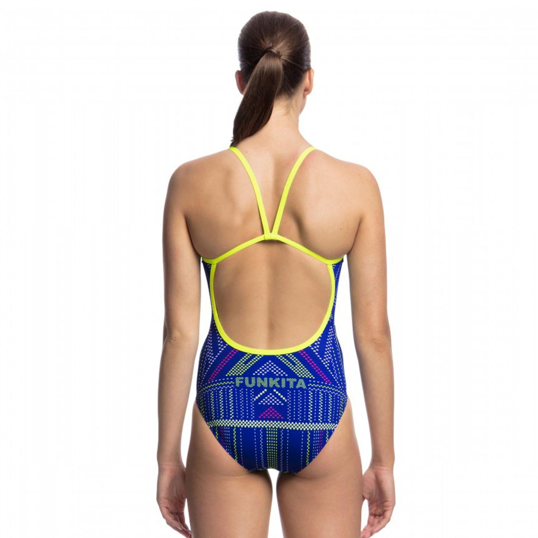 Funkita Γυναικείο Ολόσωμο Μαγιό Single Strap QUICK STITCH Μπλε Κίτρινο 35f3ba51a05